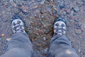 Hiking boots in the water.